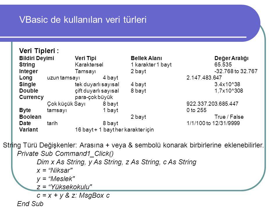 VBasic de kullanılan veri türleri