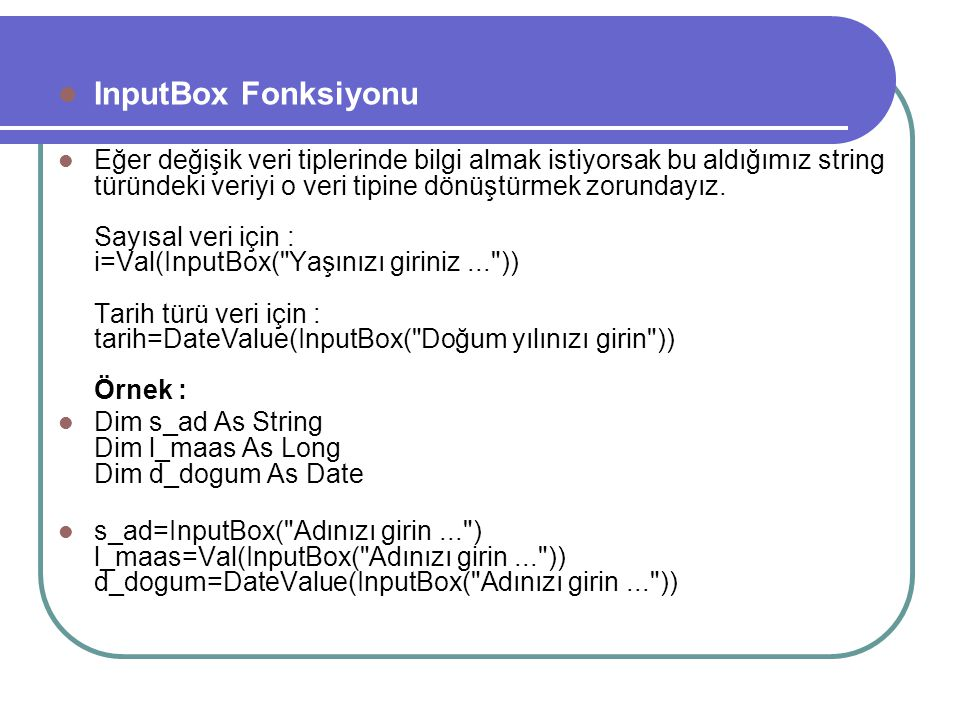 InputBox Fonksiyonu