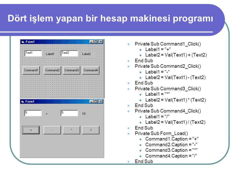 Dört işlem yapan bir hesap makinesi programı