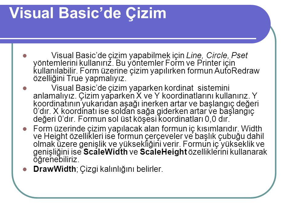 Visual Basic'de Çizim
