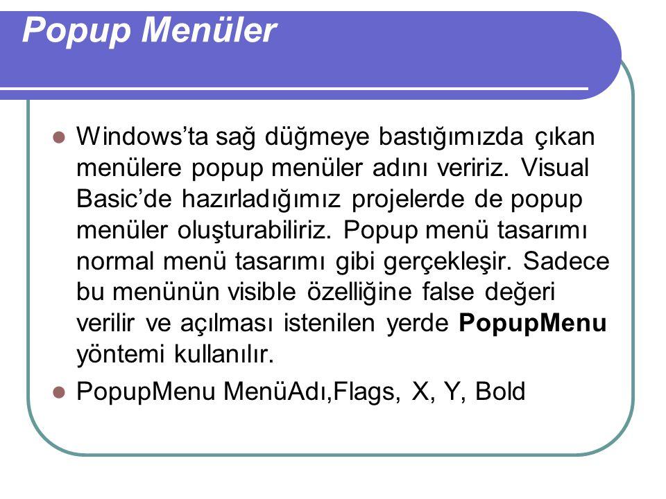 Popup Menüler