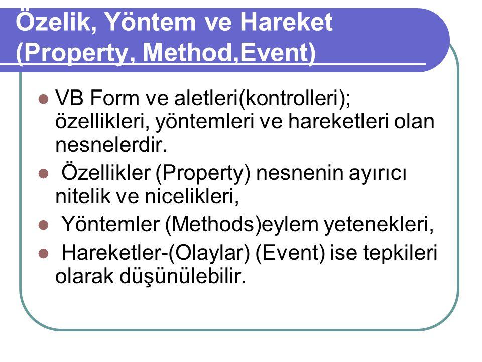 Özelik, Yöntem ve Hareket (Property, Method,Event)
