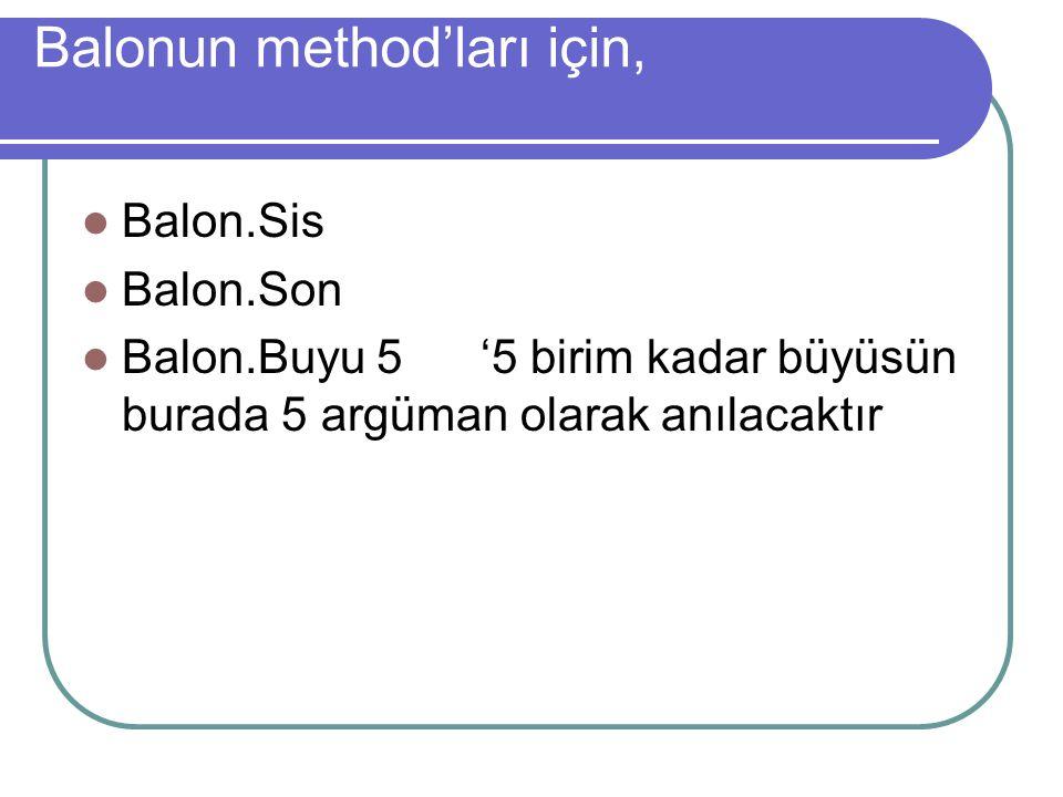 Balonun method'ları için,