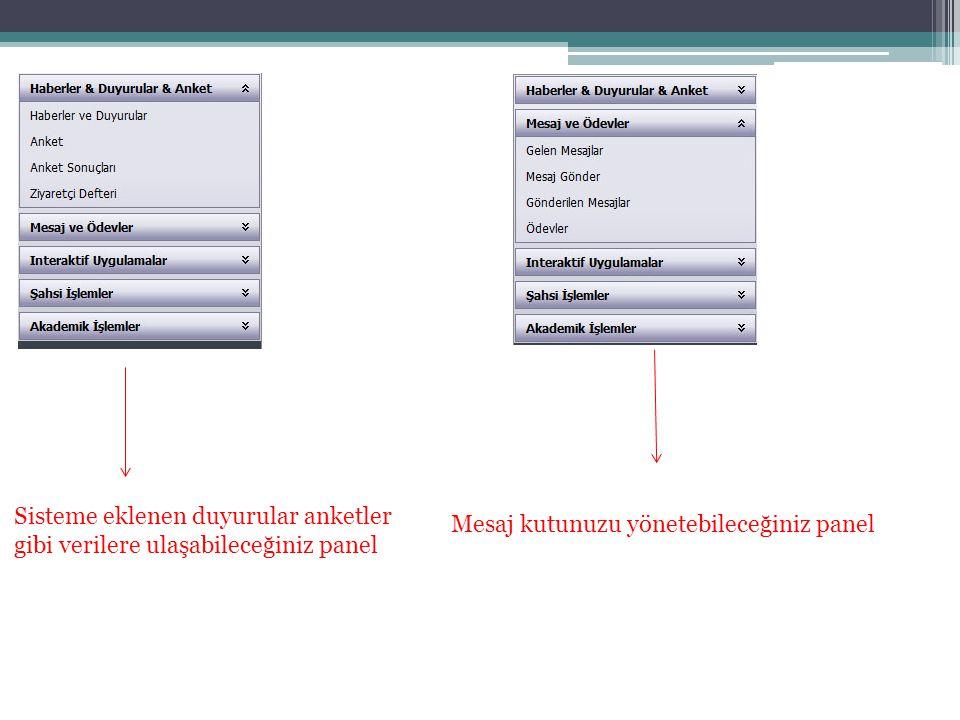 Sisteme eklenen duyurular anketler gibi verilere ulaşabileceğiniz panel