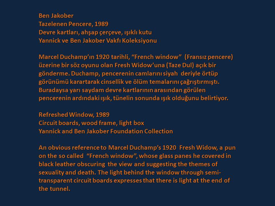 Ben Jakober Tazelenen Pencere, 1989. Devre kartları, ahşap çerçeve, ışıklı kutu. Yannick ve Ben Jakober Vakfı Koleksiyonu.
