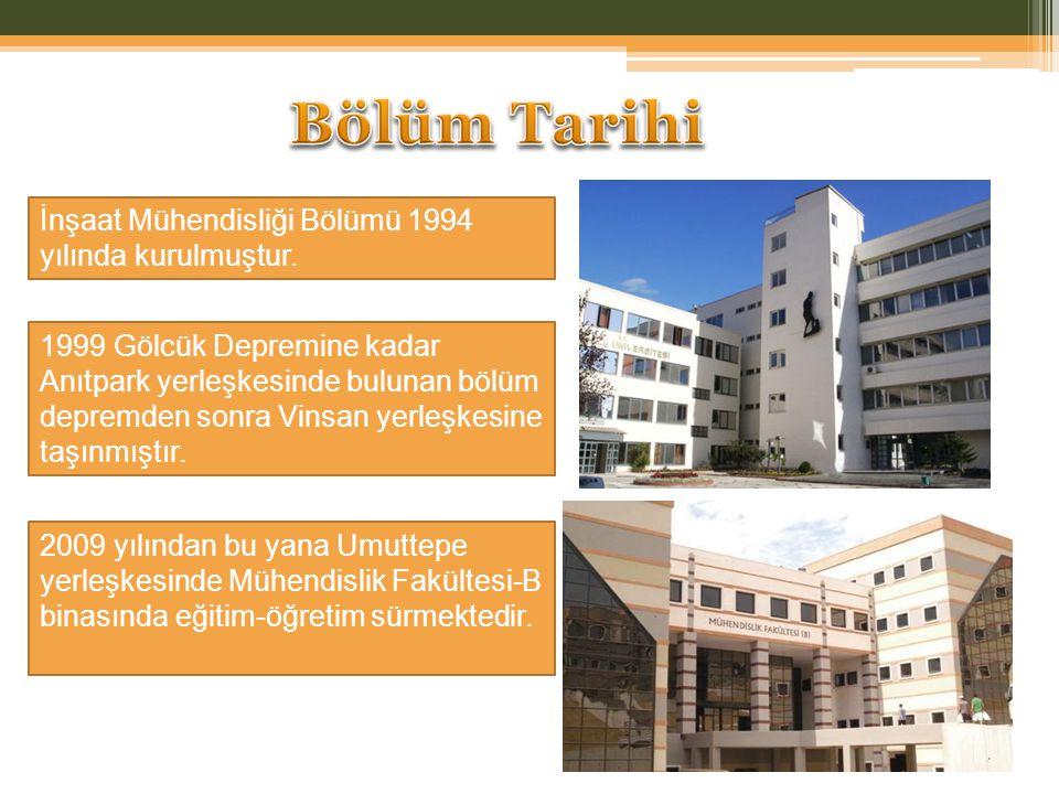 Bölüm Tarihi İnşaat Mühendisliği Bölümü 1994 yılında kurulmuştur.