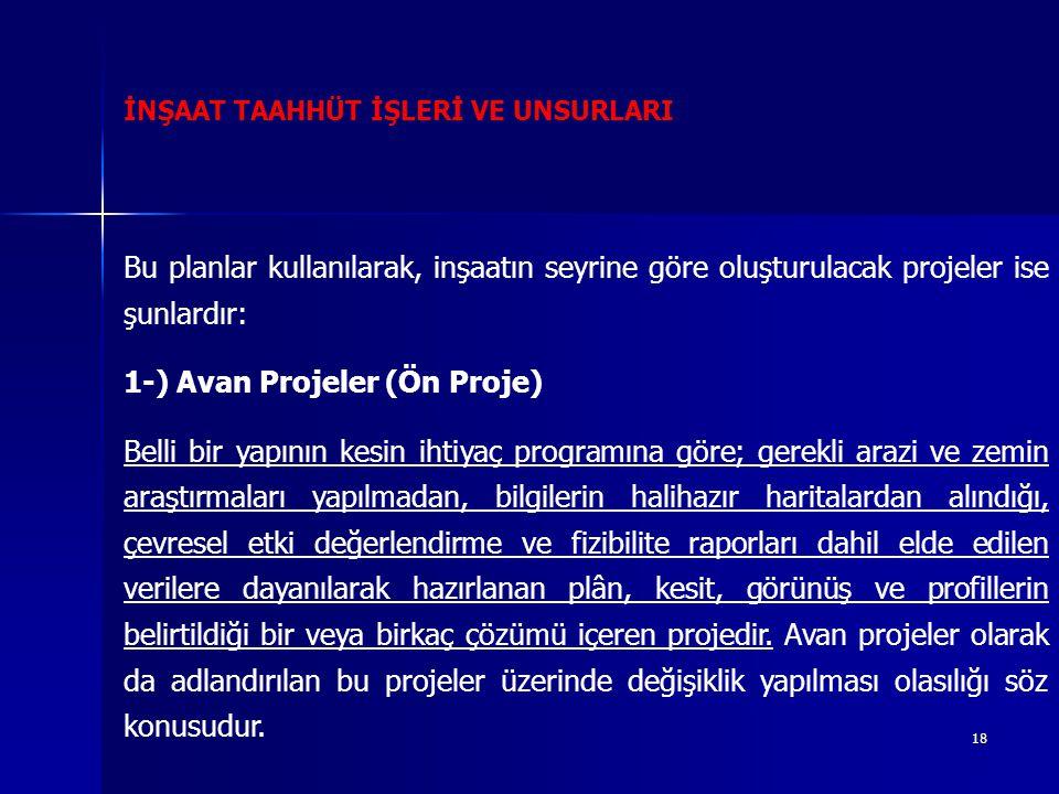 1-) Avan Projeler (Ön Proje)