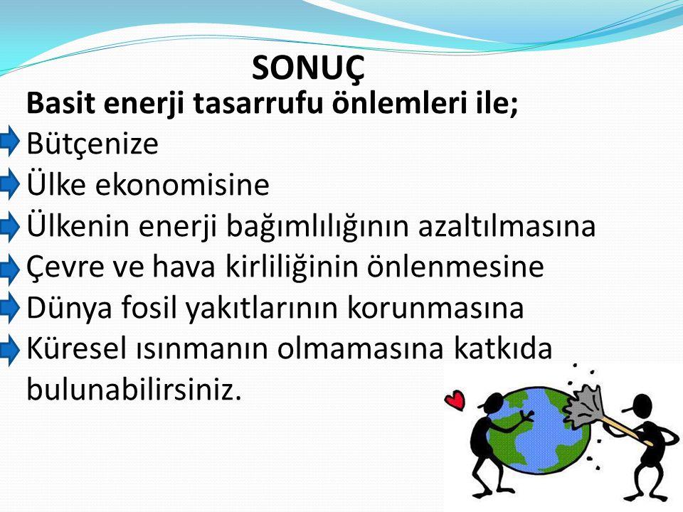 SONUÇ Basit enerji tasarrufu önlemleri ile; Bütçenize Ülke ekonomisine
