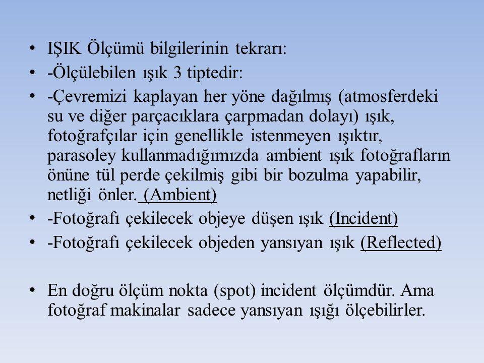 IŞIK Ölçümü bilgilerinin tekrarı: