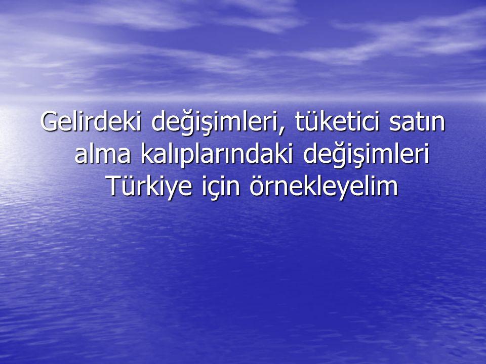 Gelirdeki değişimleri, tüketici satın alma kalıplarındaki değişimleri Türkiye için örnekleyelim