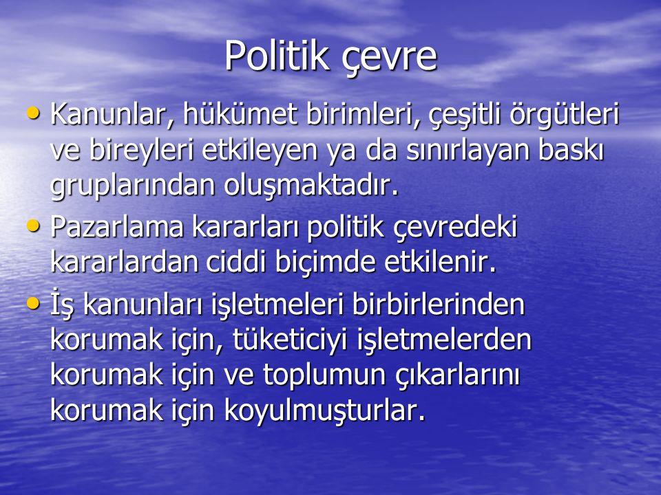 Politik çevre Kanunlar, hükümet birimleri, çeşitli örgütleri ve bireyleri etkileyen ya da sınırlayan baskı gruplarından oluşmaktadır.