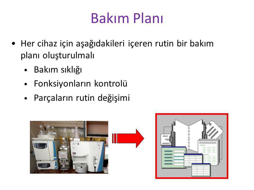 Bakım Planı Her cihaz için aşağıdakileri içeren rutin bir bakım planı oluşturulmalı. Bakım sıklığı.
