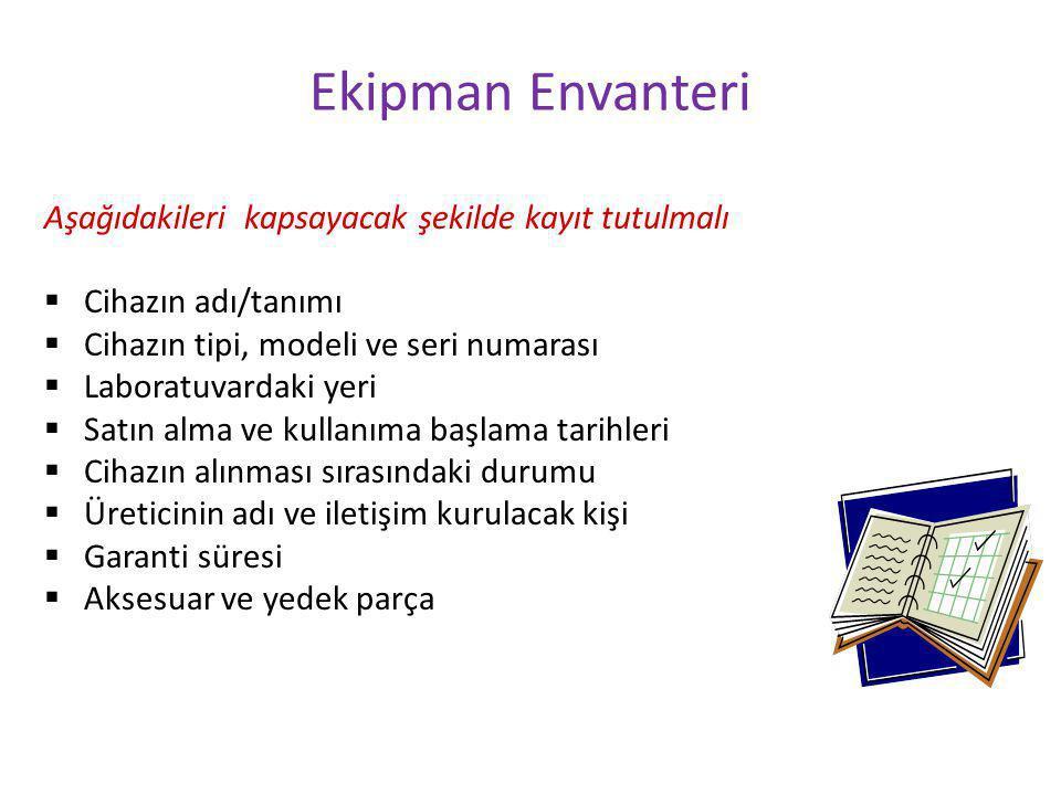 Ekipman Envanteri Aşağıdakileri kapsayacak şekilde kayıt tutulmalı