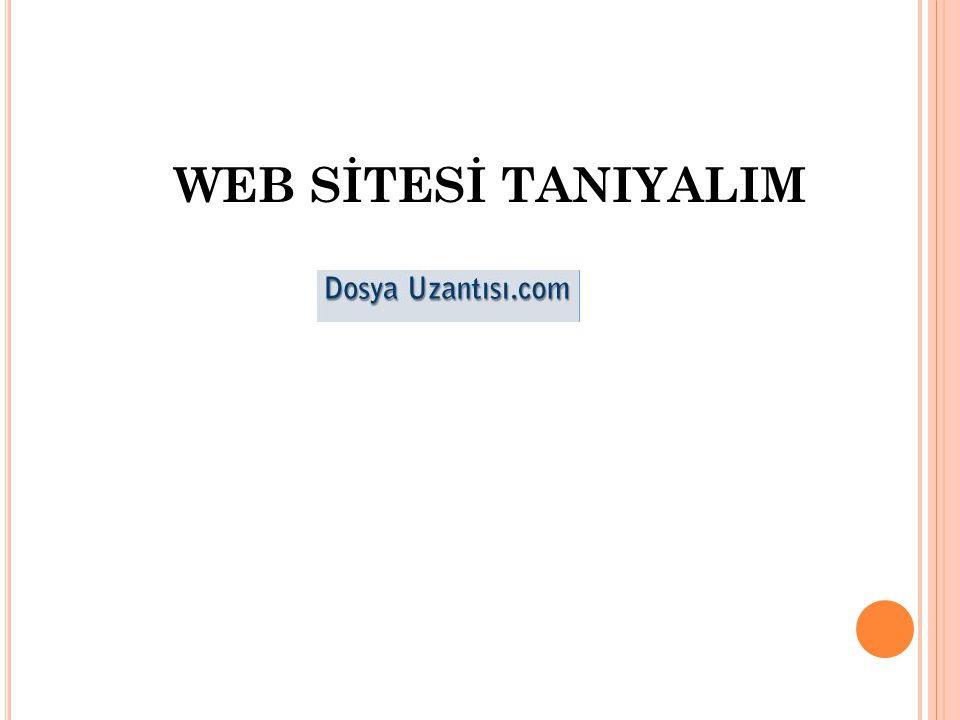 WEB SİTESİ TANIYALIM
