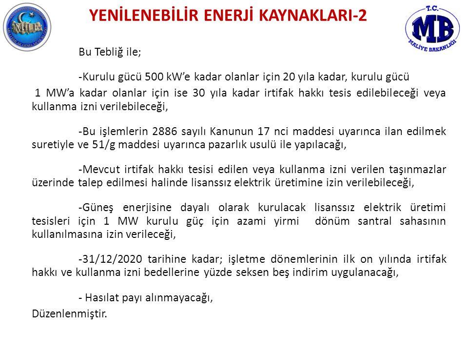 YENİLENEBİLİR ENERJİ KAYNAKLARI-2