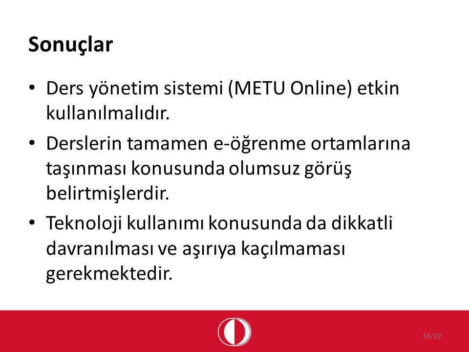 Sonuçlar Ders yönetim sistemi (METU Online) etkin kullanılmalıdır.