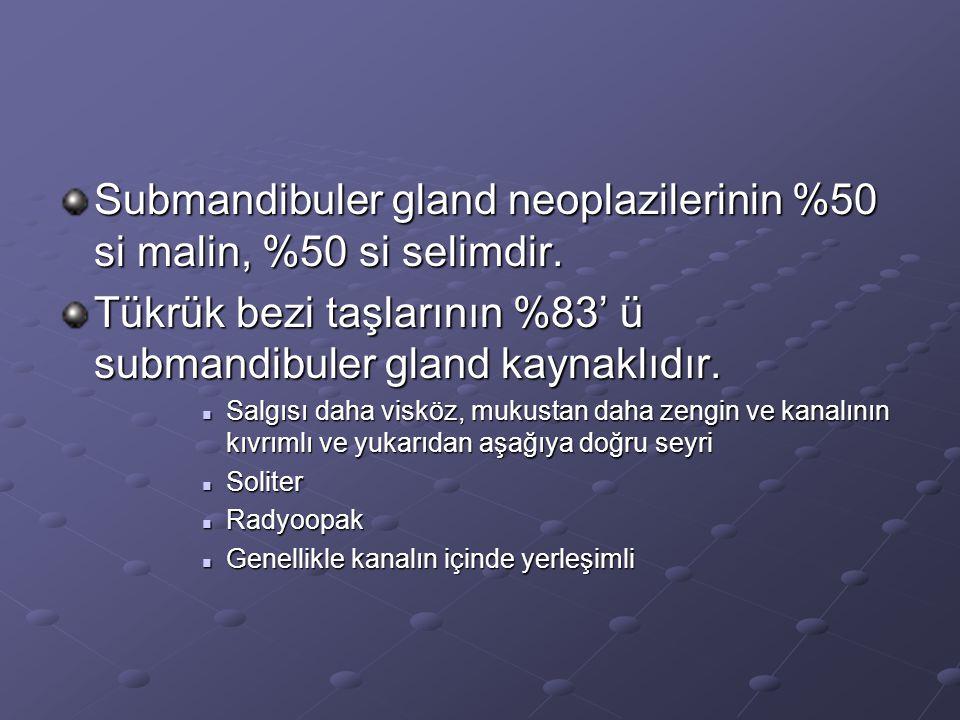 Submandibuler gland neoplazilerinin %50 si malin, %50 si selimdir.
