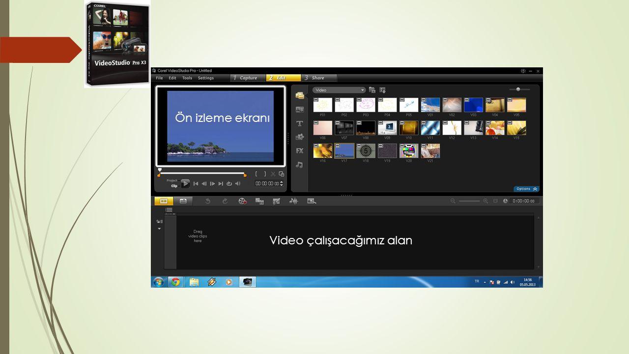 Ön izleme ekranı Video çalışacağımız alan