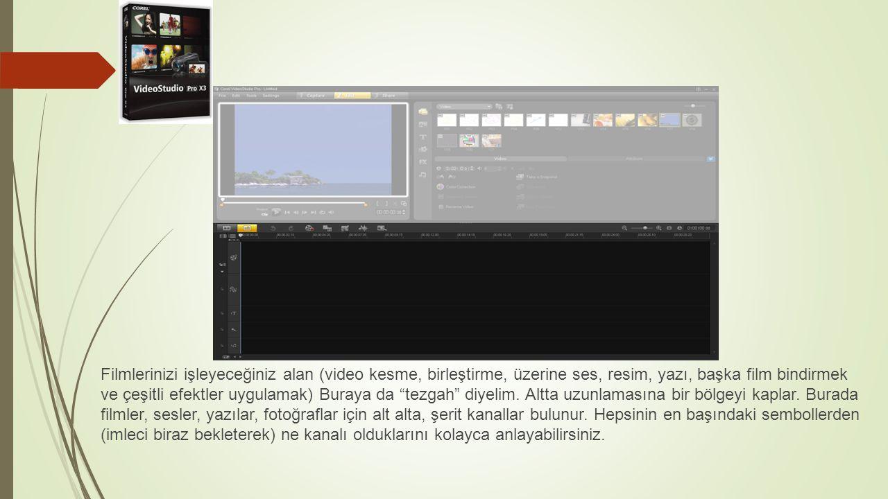 Filmlerinizi işleyeceğiniz alan (video kesme, birleştirme, üzerine ses, resim, yazı, başka film bindirmek ve çeşitli efektler uygulamak) Buraya da tezgah diyelim.