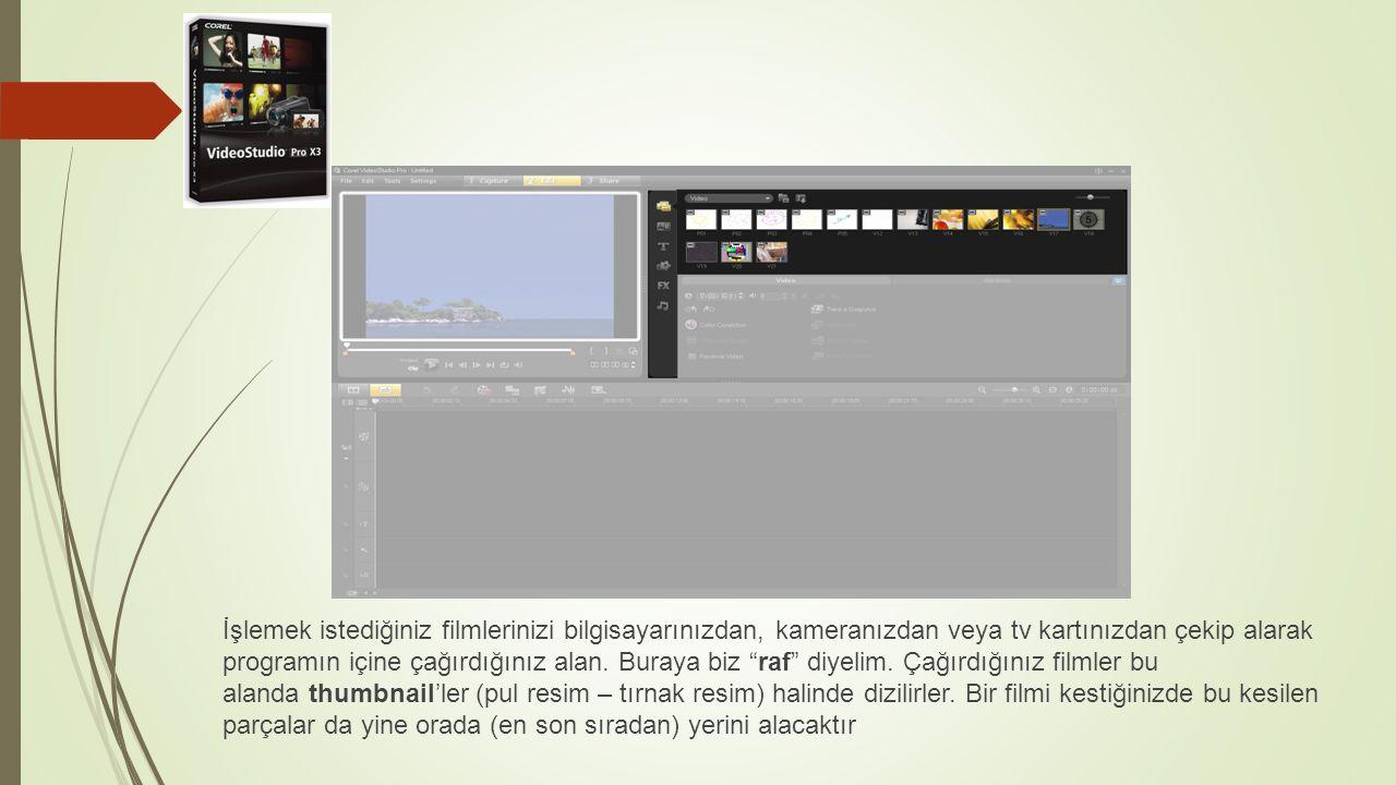İşlemek istediğiniz filmlerinizi bilgisayarınızdan, kameranızdan veya tv kartınızdan çekip alarak programın içine çağırdığınız alan.