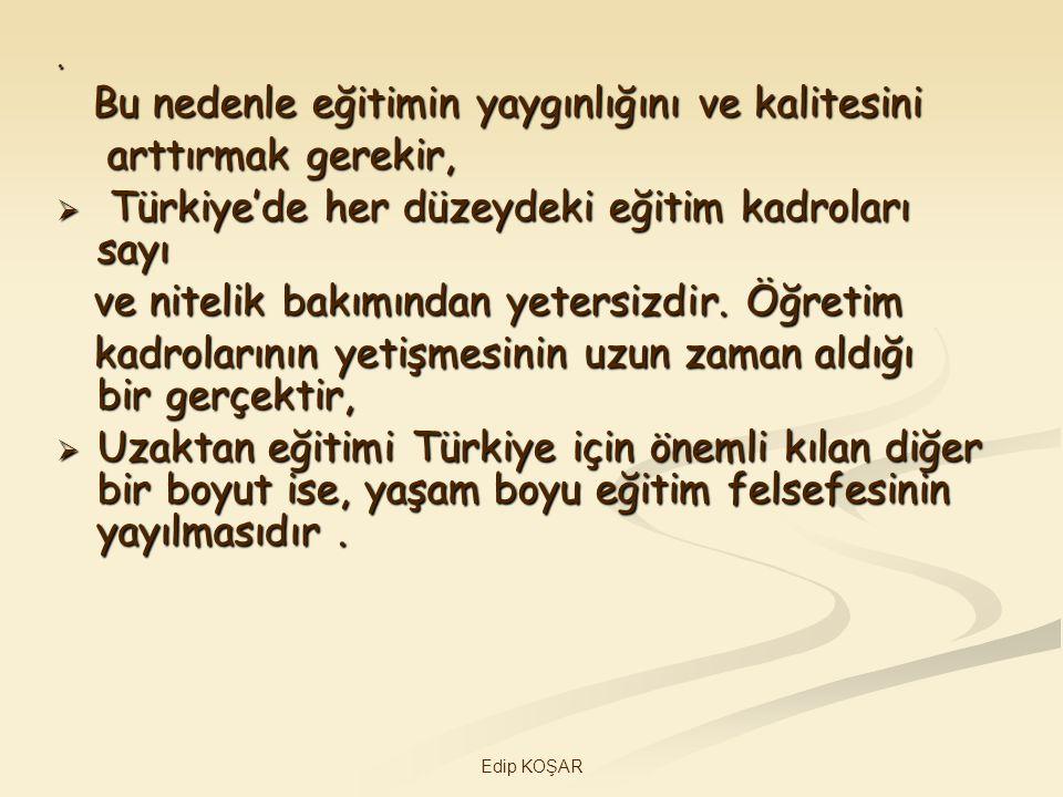 Türkiye'de her düzeydeki eğitim kadroları sayı
