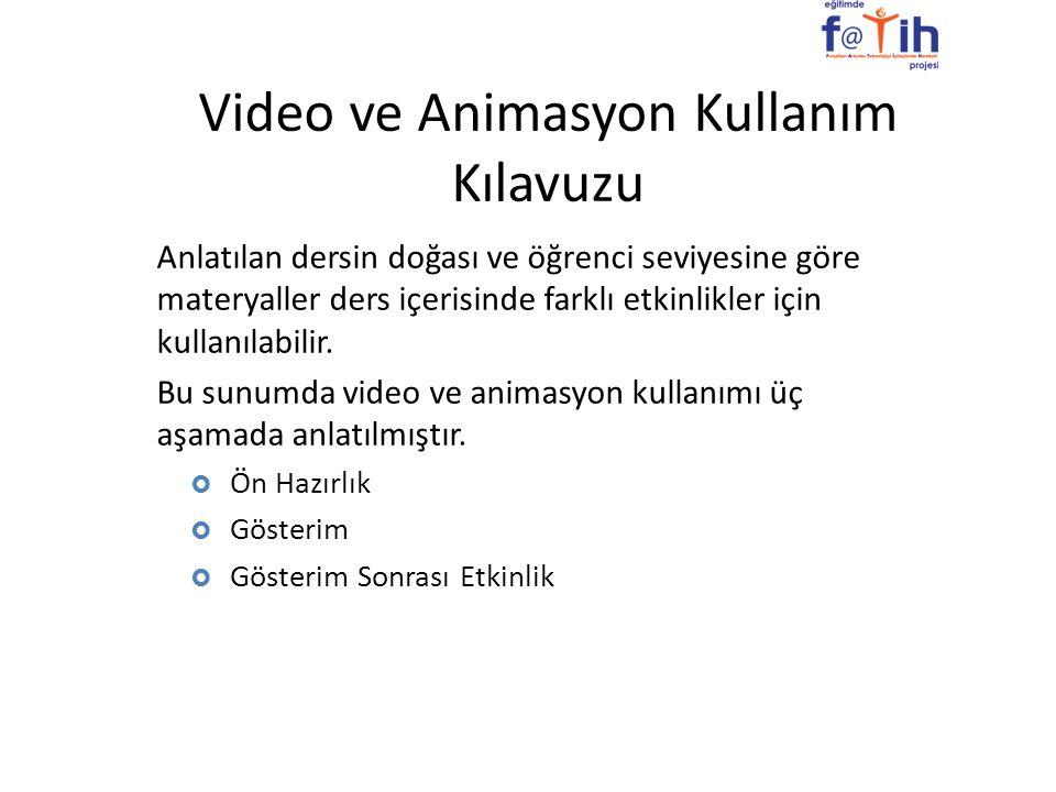 Video ve Animasyon Kullanım Kılavuzu