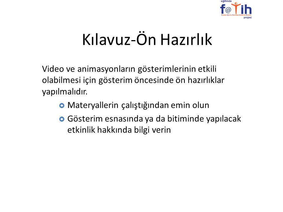 Kılavuz-Ön Hazırlık Video ve animasyonların gösterimlerinin etkili olabilmesi için gösterim öncesinde ön hazırlıklar yapılmalıdır.