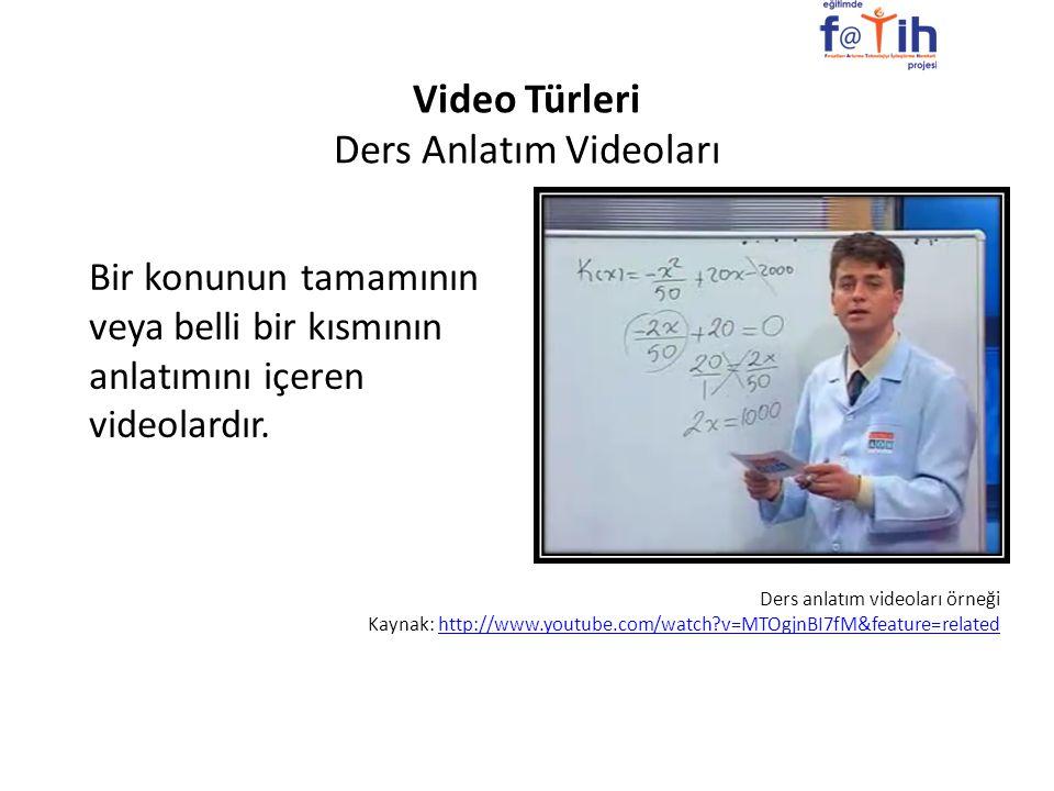 Video Türleri Ders Anlatım Videoları
