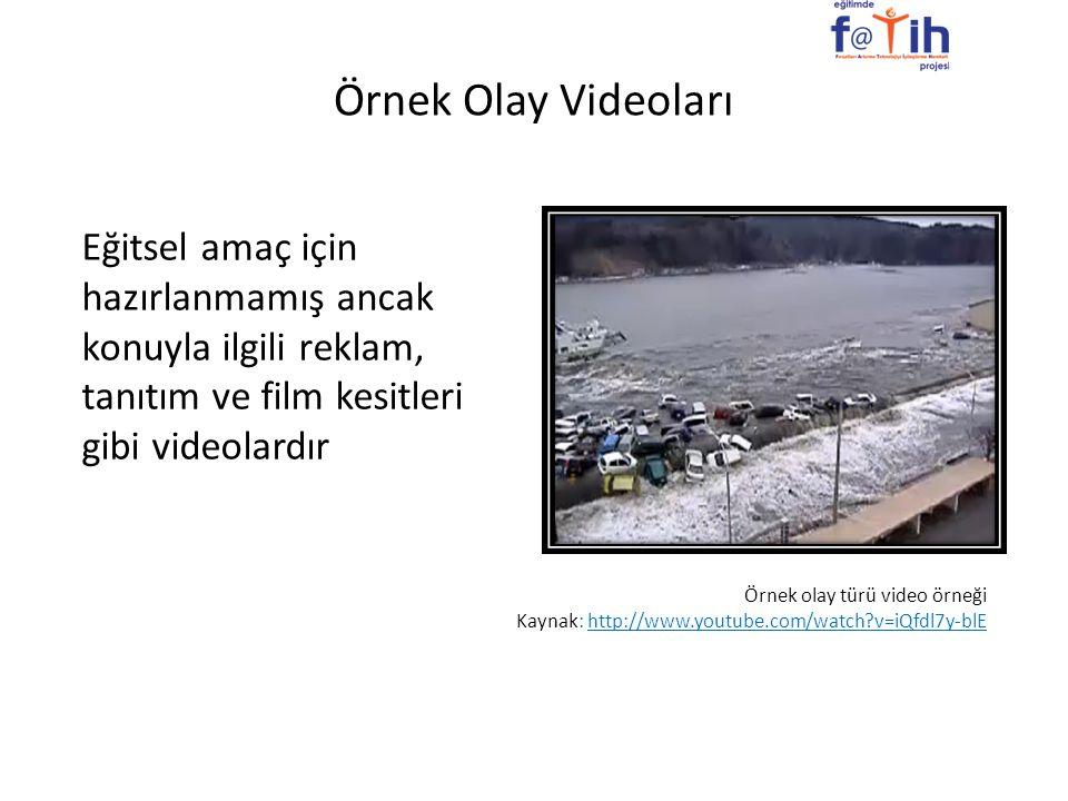 Örnek Olay Videoları Eğitsel amaç için hazırlanmamış ancak konuyla ilgili reklam, tanıtım ve film kesitleri gibi videolardır.