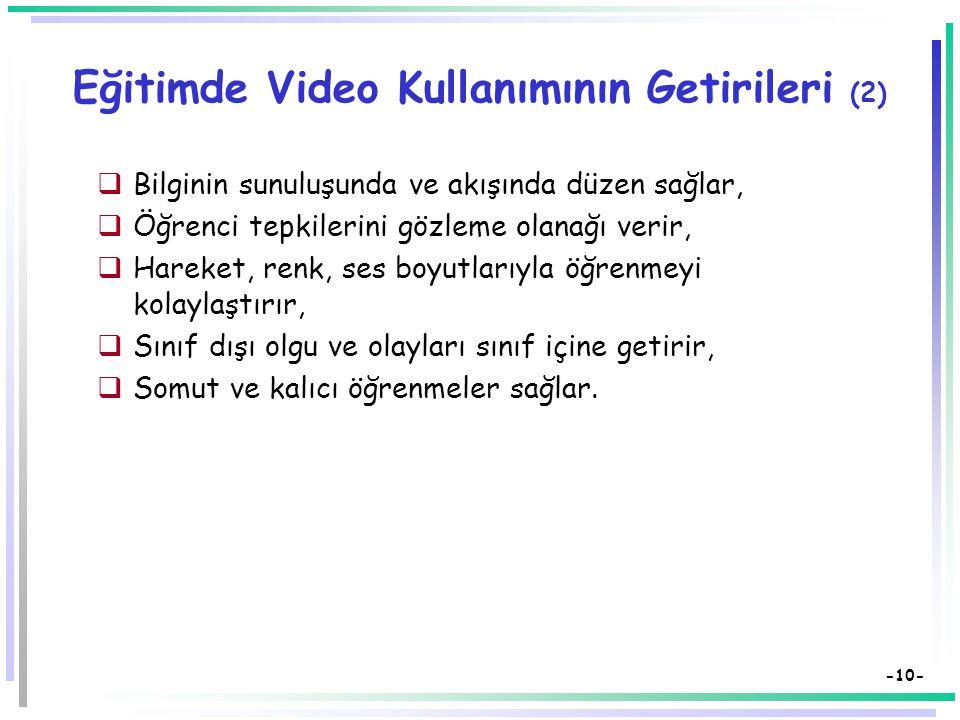 Eğitimde Video Kullanımının Getirileri (2)