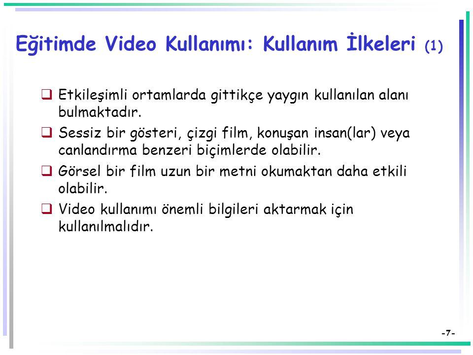 Eğitimde Video Kullanımı: Kullanım İlkeleri (1)