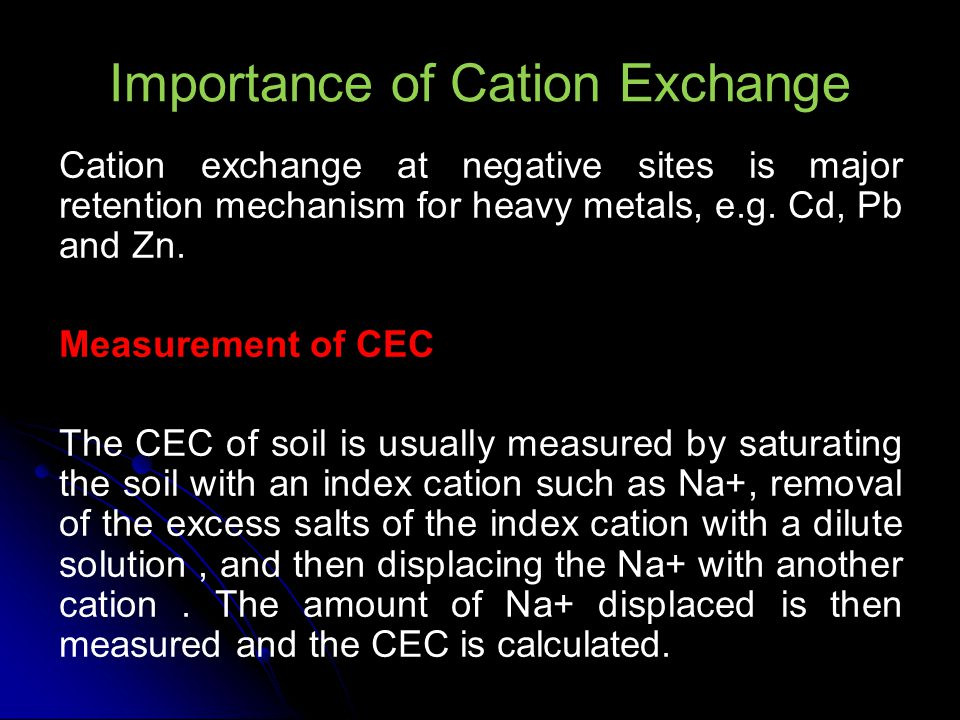 Importance of Cation Exchange