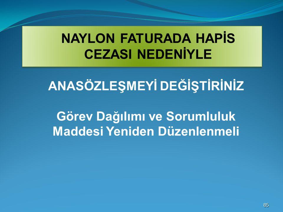 NAYLON FATURADA HAPİS CEZASI NEDENİYLE
