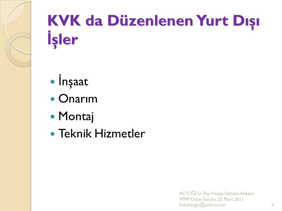 KVK da Düzenlenen Yurt Dışı İşler