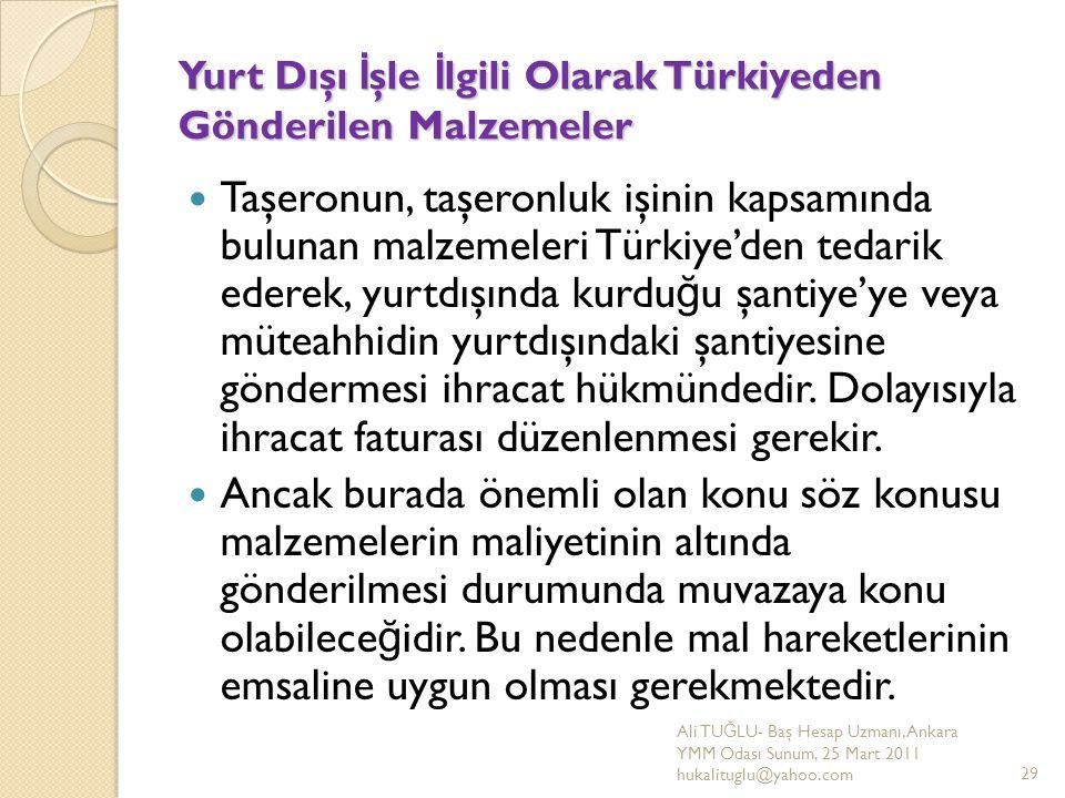 Yurt Dışı İşle İlgili Olarak Türkiyeden Gönderilen Malzemeler