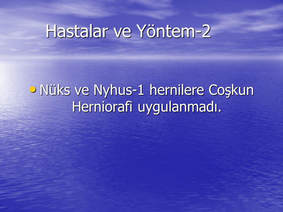 Nüks ve Nyhus-1 hernilere Coşkun Herniorafi uygulanmadı.