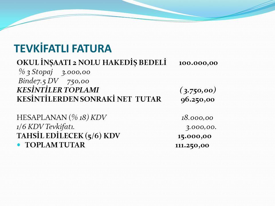 TEVKİFATLI FATURA OKUL İNŞAATI 2 NOLU HAKEDİŞ BEDELİ 100.000,00