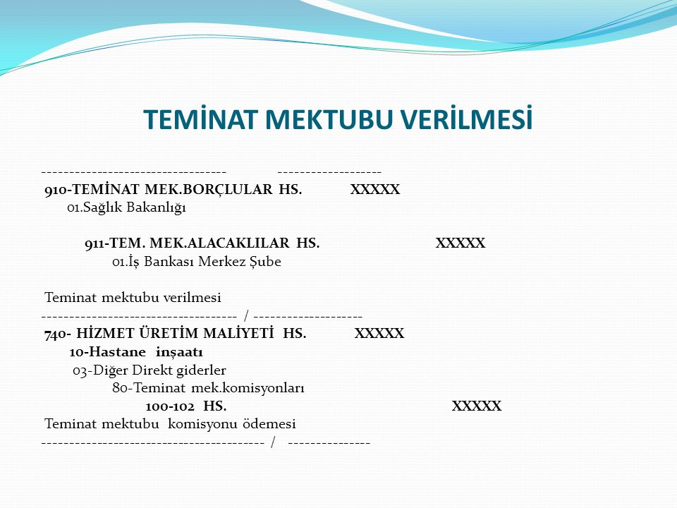 TEMİNAT MEKTUBU VERİLMESİ