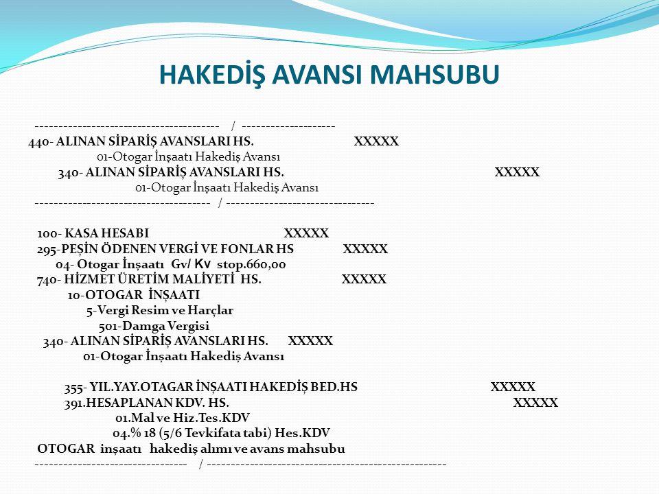 HAKEDİŞ AVANSI MAHSUBU