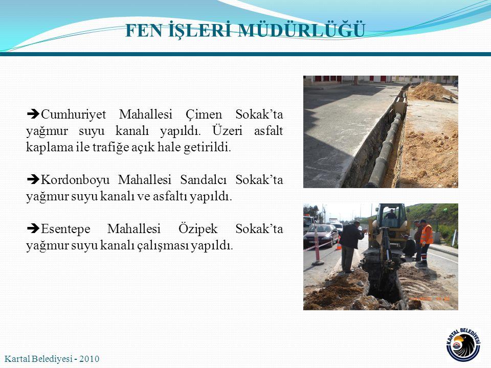 FEN İŞLERİ MÜDÜRLÜĞÜ Cumhuriyet Mahallesi Çimen Sokak'ta yağmur suyu kanalı yapıldı. Üzeri asfalt kaplama ile trafiğe açık hale getirildi.