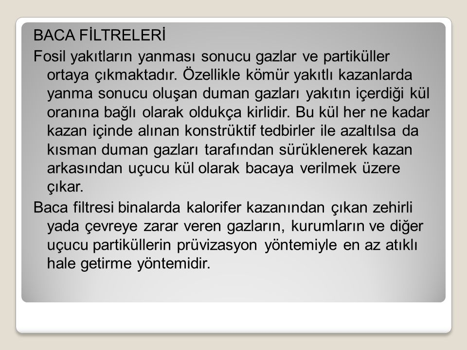 BACA FİLTRELERİ