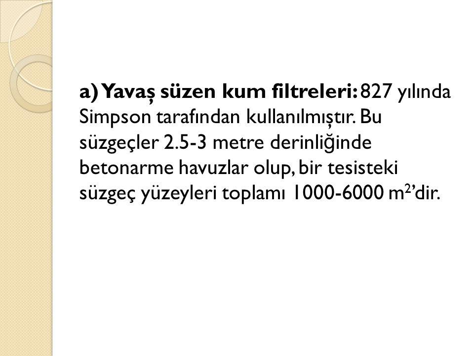 a) Yavaş süzen kum filtreleri: 827 yılında Simpson tarafından kullanılmıştır.