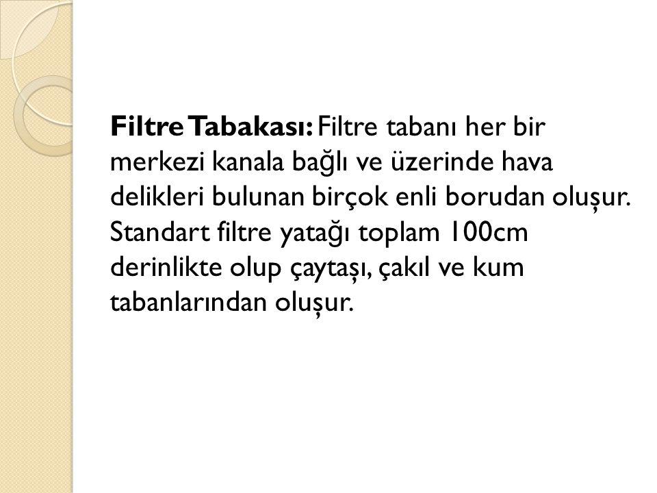 Filtre Tabakası: Filtre tabanı her bir merkezi kanala bağlı ve üzerinde hava delikleri bulunan birçok enli borudan oluşur.