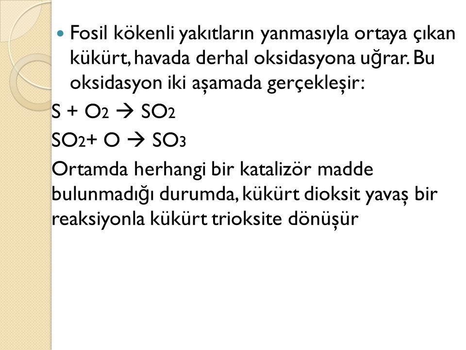 Fosil kökenli yakıtların yanmasıyla ortaya çıkan kükürt, havada derhal oksidasyona uğrar. Bu oksidasyon iki aşamada gerçekleşir: