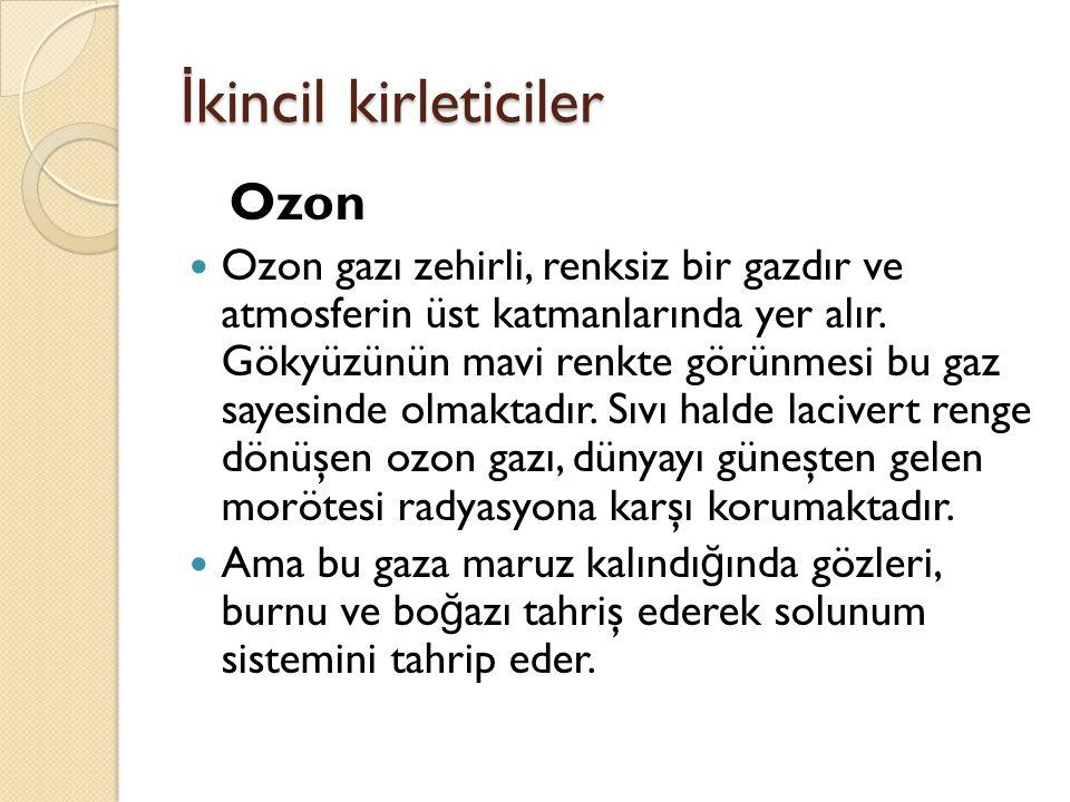İkincil kirleticiler Ozon