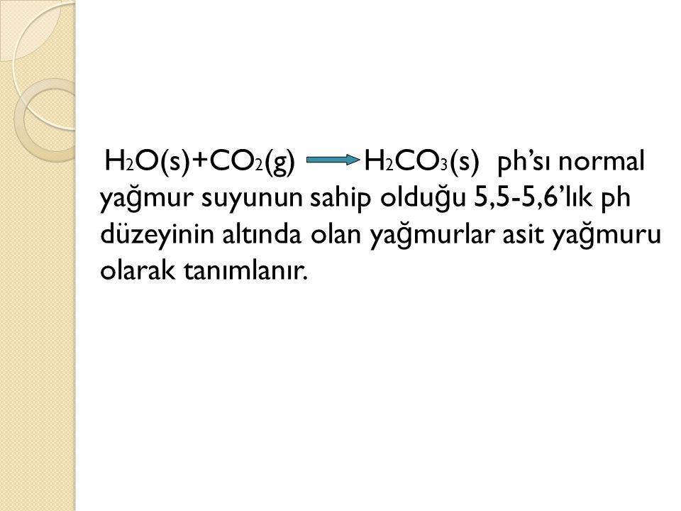 H2O(s)+CO2(g) H2CO3(s) ph'sı normal yağmur suyunun sahip olduğu 5,5-5,6'lık ph düzeyinin altında olan yağmurlar asit yağmuru olarak tanımlanır.