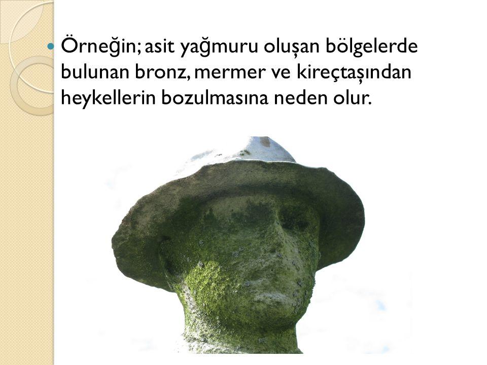 Örneğin; asit yağmuru oluşan bölgelerde bulunan bronz, mermer ve kireçtaşından heykellerin bozulmasına neden olur.