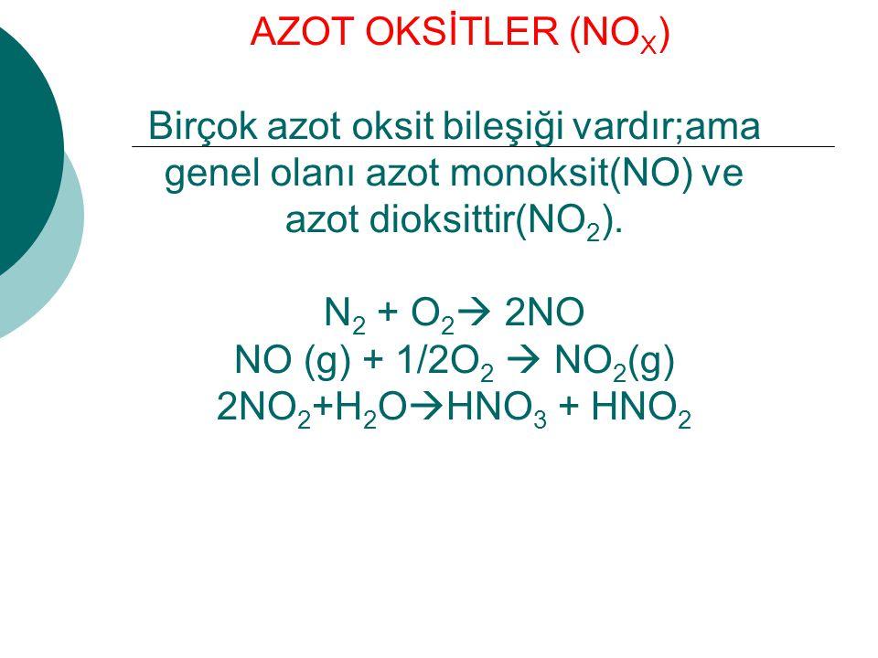 AZOT OKSİTLER (NOX) Birçok azot oksit bileşiği vardır;ama genel olanı azot monoksit(NO) ve azot dioksittir(NO2).