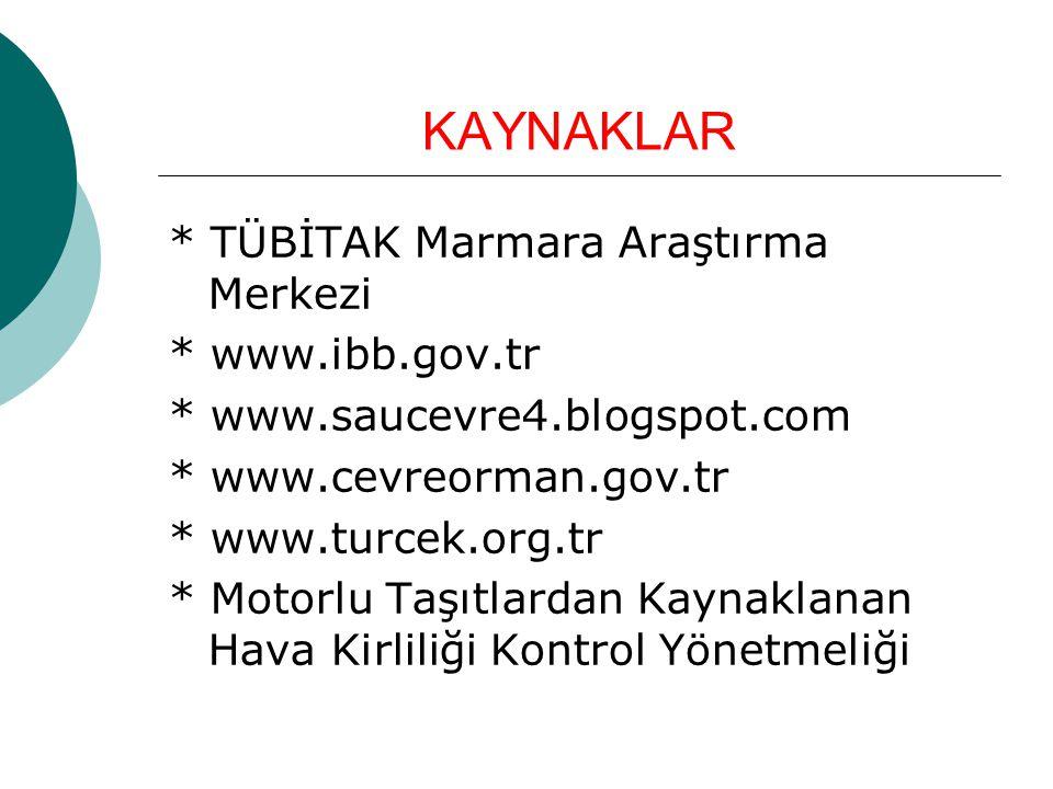 KAYNAKLAR * TÜBİTAK Marmara Araştırma Merkezi * www.ibb.gov.tr