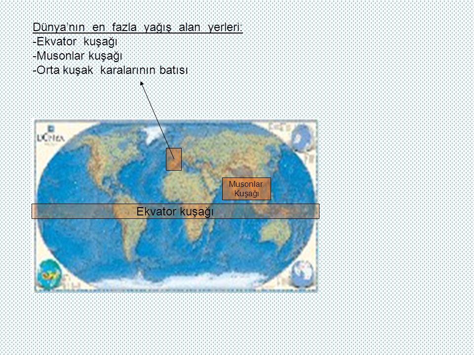 Dünya'nın en fazla yağış alan yerleri: -Ekvator kuşağı